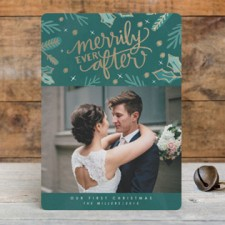 Merrily Ever After Hand Lettered Foil Photo Cards by Makewells