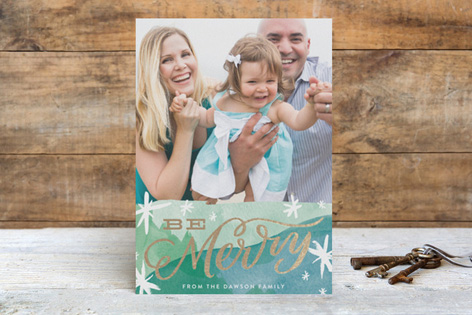 Hand Lettered Merry Foil Holiday Photo Cards by Alethea & Ruth