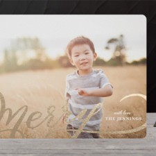 Modern Merry Foil Holiday Photo Cards by Kristen Smith