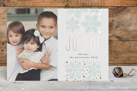 Modern Snowflake Foil Holiday Photo Cards by Lehan Veenker