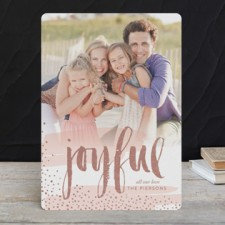 Modern Joy Foil Holiday Photo Cards by Erin Deegan