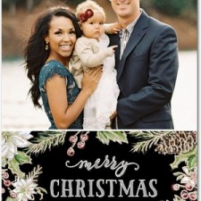 Berry Sprigs Glitter Holiday Photo Cards by Lady Jae Designs
