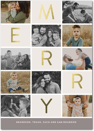 Multi-Photo Foil Stamped Holiday Photo Cards by Hello Little One