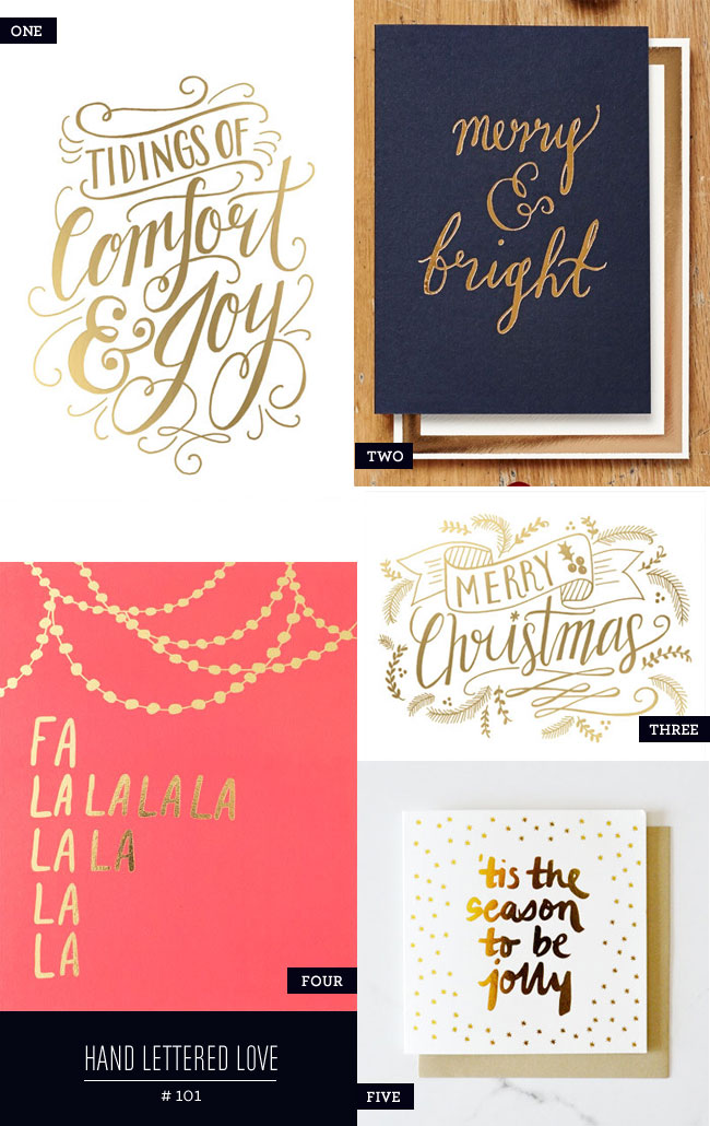 Hand Lettered Holiday Card Love, Gold Foil Edition