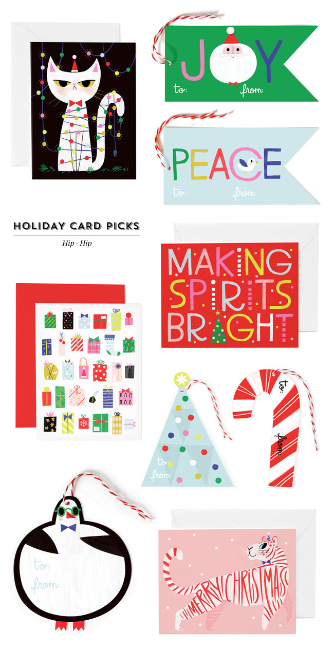 Illustrated Holiday Cards & Jumbo Gift Tags from Hip-Hip
