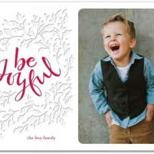 Be Joyful Letterpress Holiday Photo Cards by Lady Jae Designs