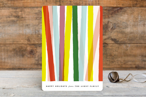 Colorful Lines Business Holiday Cards by Yours Madly