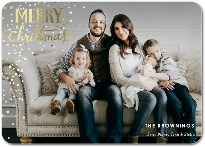 Merry Snow Foil Stamped Holiday Photo Cards by Petite Alma