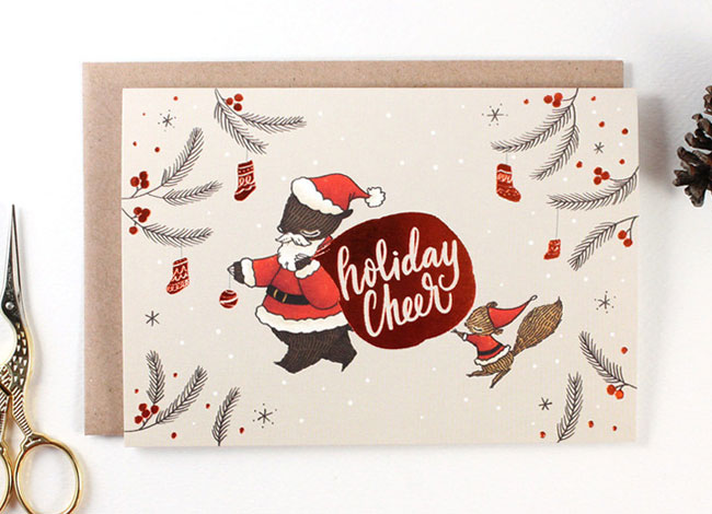 Holiday Cheer Copper Foil Card by Whimsy Whimsical