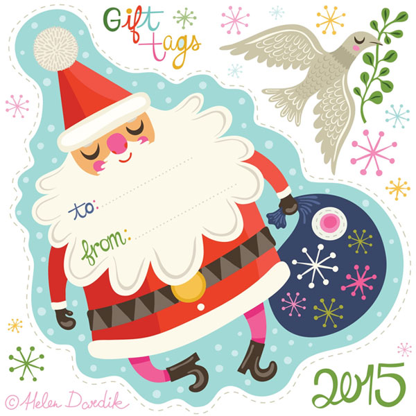 Free Printable Holiday Gift Tags by Helen Dardik