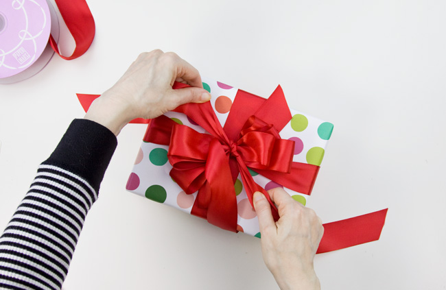 How to Make a Big & Loopy Satin Gift Bow, Step 5
