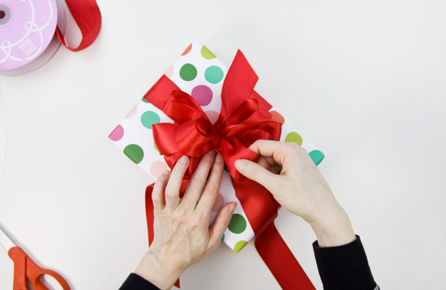 How to Make a Big & Loopy Satin Gift Bow, Step 6