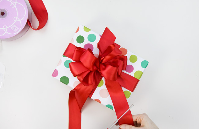 How to Make a Big & Loopy Satin Gift Bow, Step 7