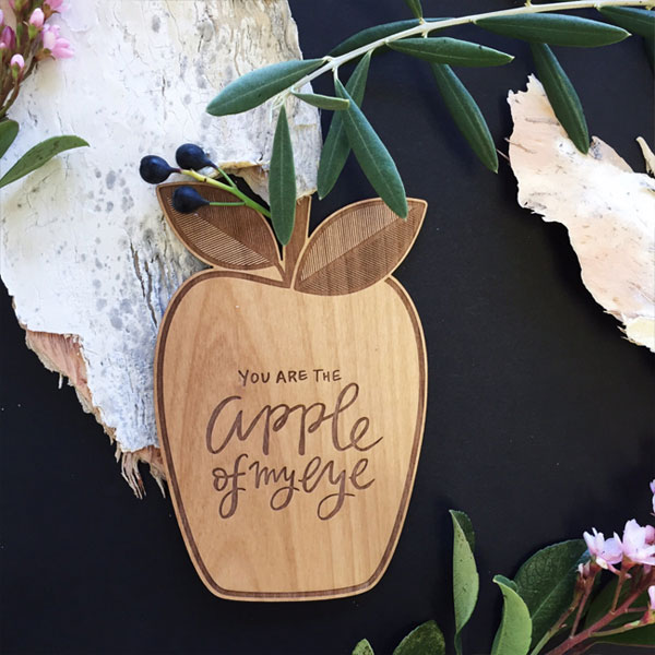 Apple of My Eye Real Wood Card by Cardtorial