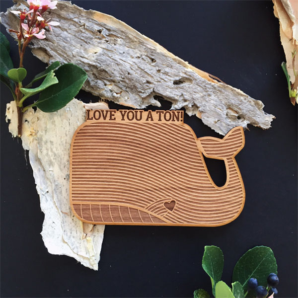 Love You a Ton Whale Shaped Real Wood Card by Cardtorial