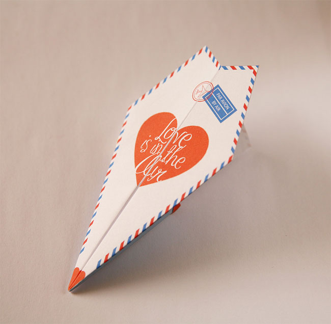 Printable Paper Airplaine Valentine / Love Card