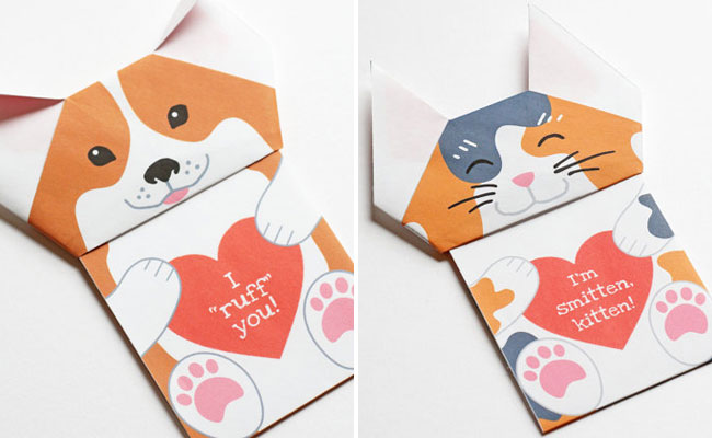 DIY Origami Cat & Dog Valentines from Oinge Shop