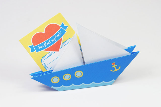 DIY Origami Love Boat Valentine Card by Oinge Shop