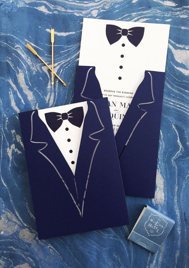 Laser Cut Tuxedo Save the Date Cards by Coral Pheasant