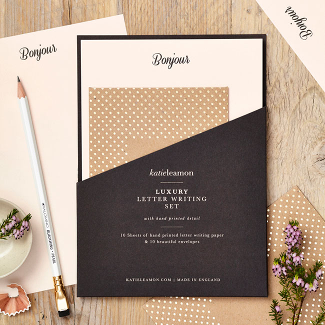 Bonjour Luxury Letter Writing Set by Katie Leamon