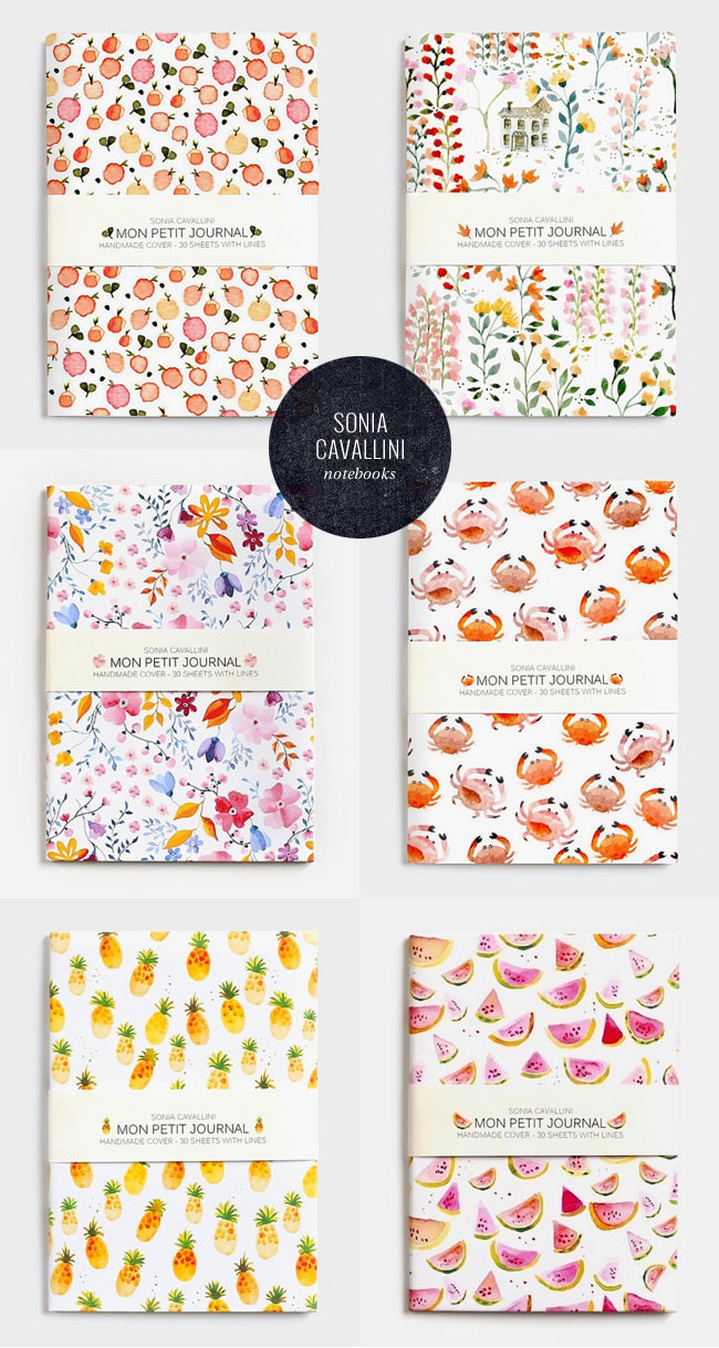 Watercolor Pattern Notebooks by Sonia Cavallini (A6 Size)