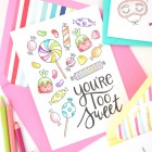Free Printable Coloring Cards from Damask Love