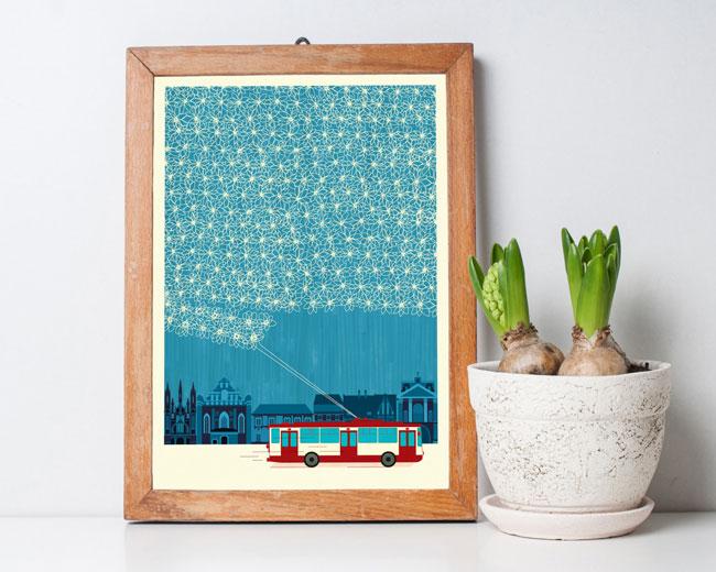 Crafty Trolley Lace Art Print by Kata Kiosk