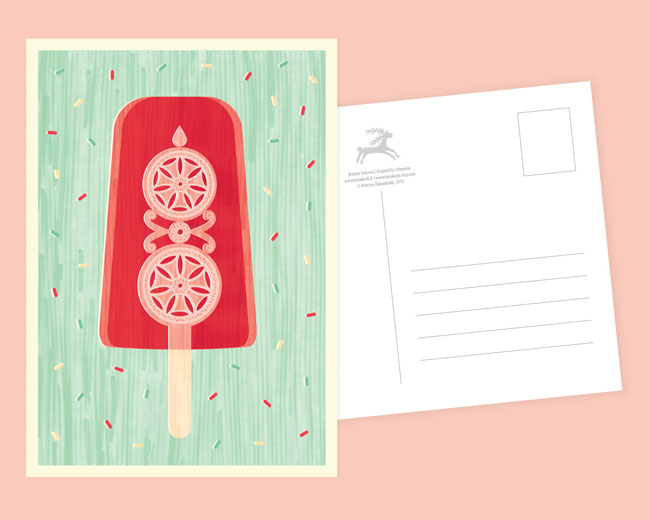 Crafty Ice Cream Popsicle Postcard by Kata Kiosk