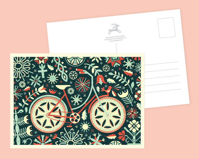 Crafty Bicycle Illustrated Postcard by Kata Kiosk
