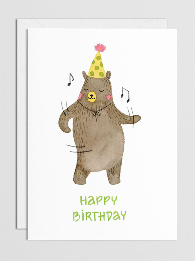 Chic + Nawdie Watercolor Birthday Bear Mini Card