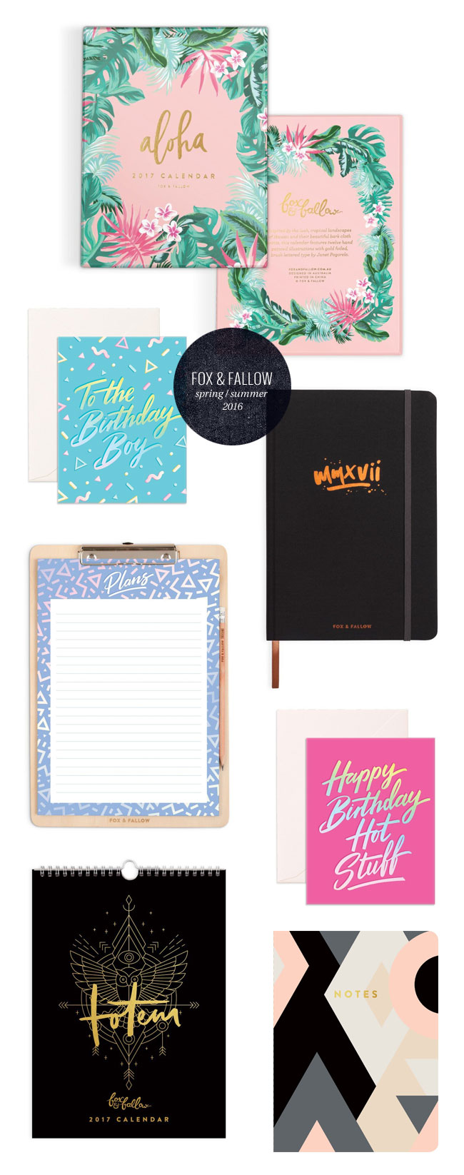 Fox & Fallow Spring / Summer 2016 Paper Goods & Stationery Collections