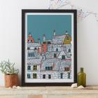 Rooftops Art Print by Jessica Hogarth #illustration