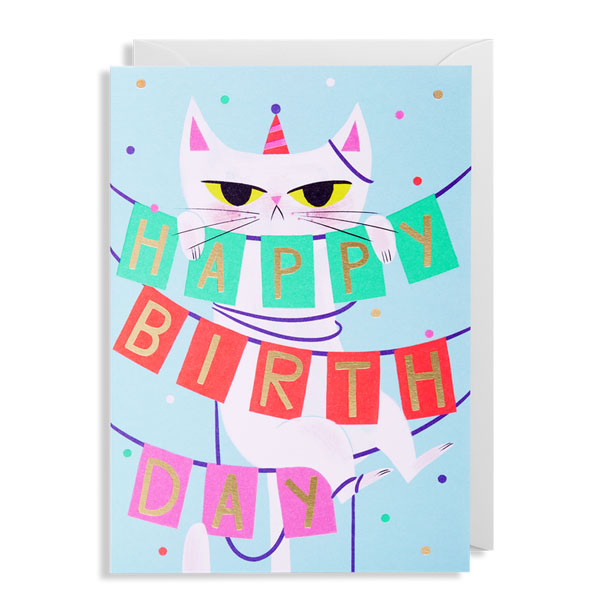 Birthday Banner Cat Card by Allison Black for Lagom