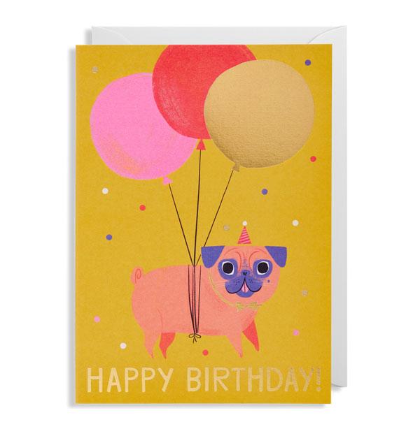 Pug Birthday Card by Allison Black for Lagom