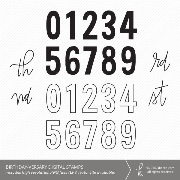 Birthday-versary Numbers Digital Clip Art / Digital Stamps by K.becca