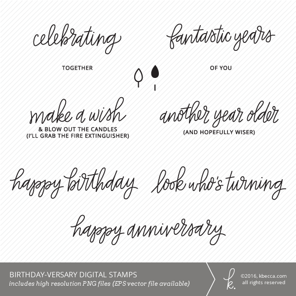Birthday-versary Sentiments Digital Clip Art / Digital Stamps by K.becca