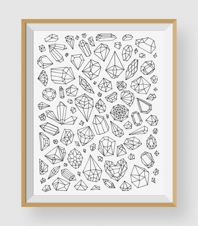 Gems Coloring Art Print by Chic + Nawdie