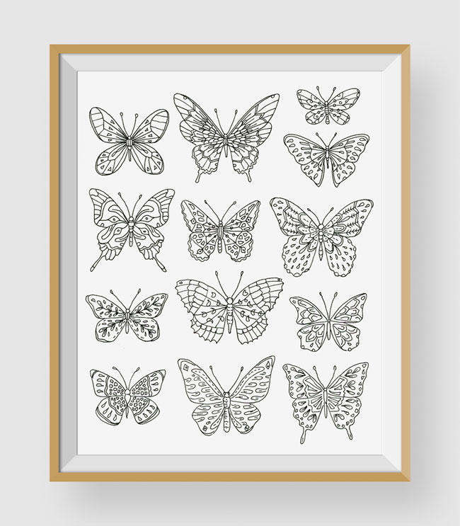 Butterflies Coloring Art Print by Chic + Nawdie