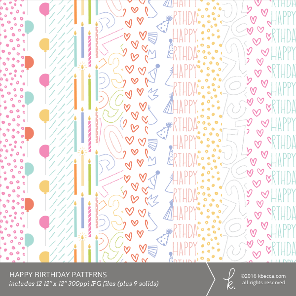 Happy Birthday Digital Clip Art Patterns by K.becca
