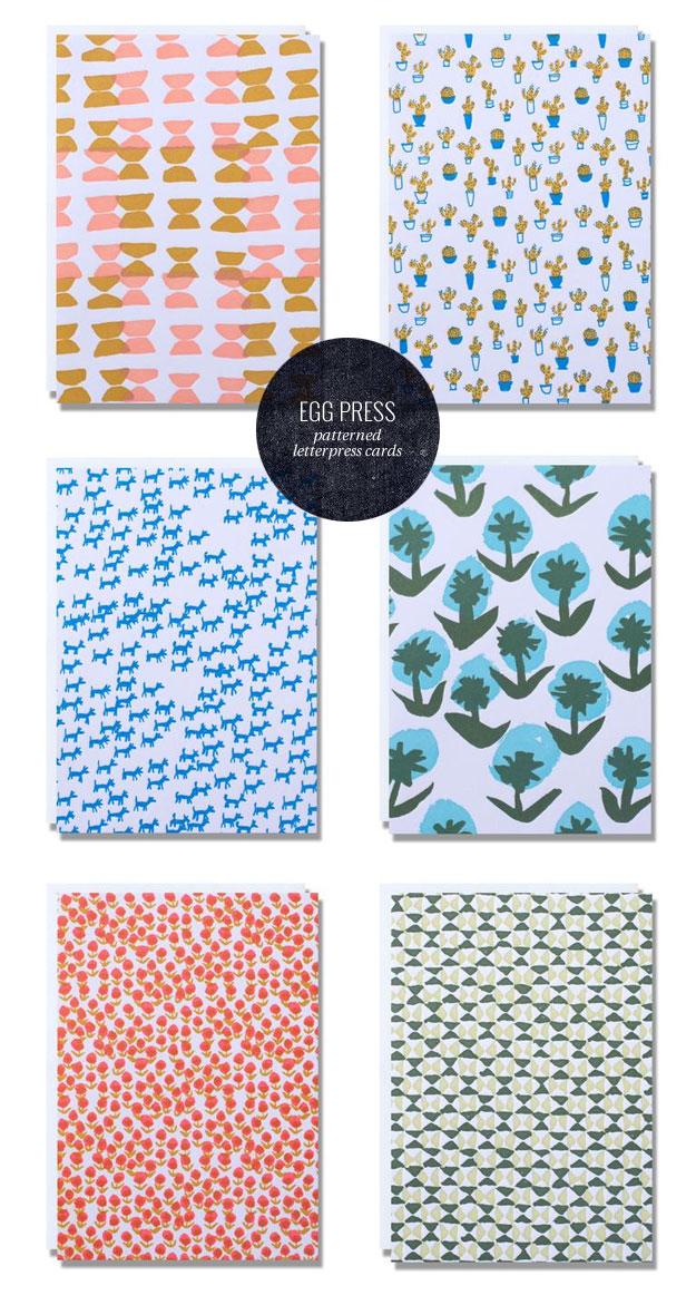 Egg Press Patterned Letterpress Note Cards
