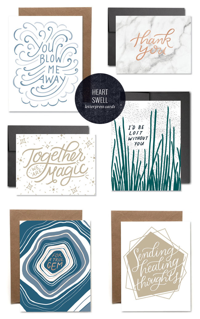 Modern, Hand Lettered Greeting Cards from Heart Swell Co.