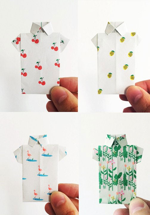 Patterned Origami Shirt Cards from Scout Editions
