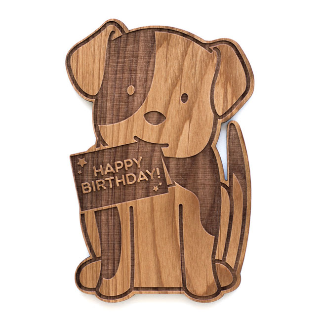 Cute Dog Birthday Real Wood Card by Cardtorial