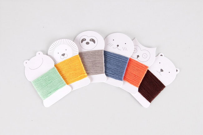 Super cute embroidery thread holders from Sew Spectacular : Adorable Animals by Mirim So / Chronicle Books