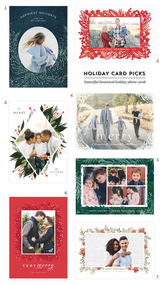 Beautiful Botanical Holiday Photo Cards from @minted