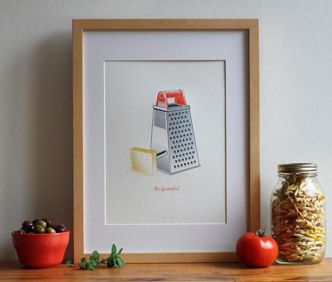 Be Grateful Letterpress Art Print from Fickle Hill Press