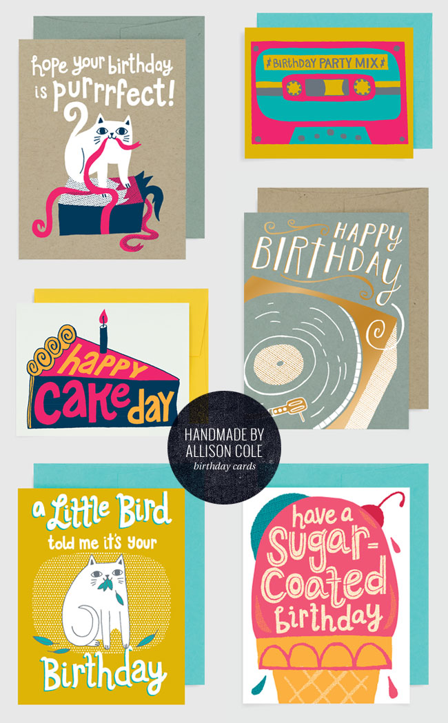 Illustrated Birthday Cards from Handmade by Allison Cole