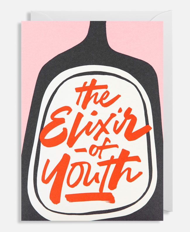 Elixir of Youth Hand Lettered Card by Alison Carmichael for Lagom