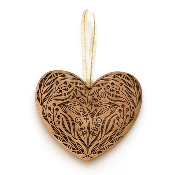 Floral Heart Laser Cut Wood Holiday Ornament by Cardtorial
