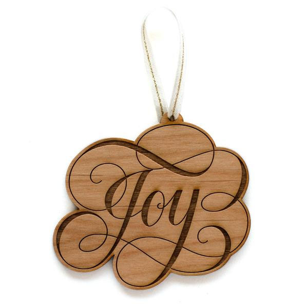 Joy Laser Cut Wood Holiday Ornament by Cardtorial